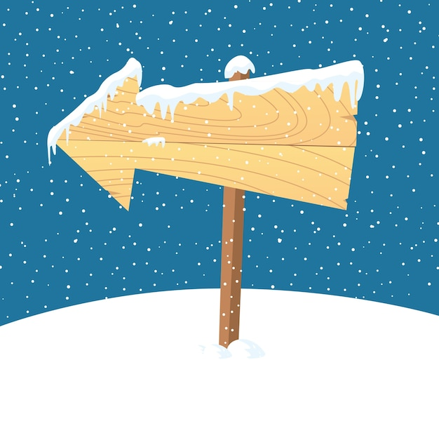 Wooden sign in snow background