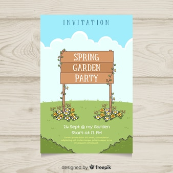 Wooden sign spring party poster template