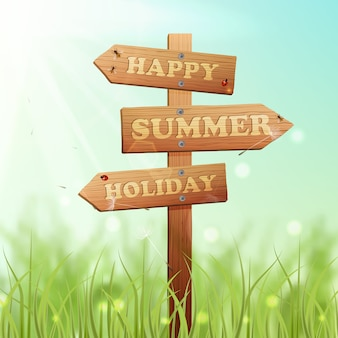 Wooden sign summer