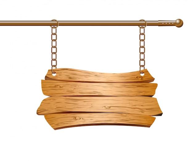チェーンに吊るされた木製看板。図