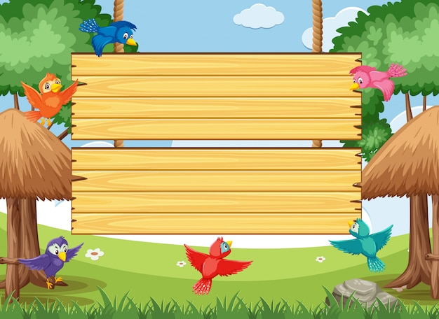 Wooden sign template with colorful birds flying in the park