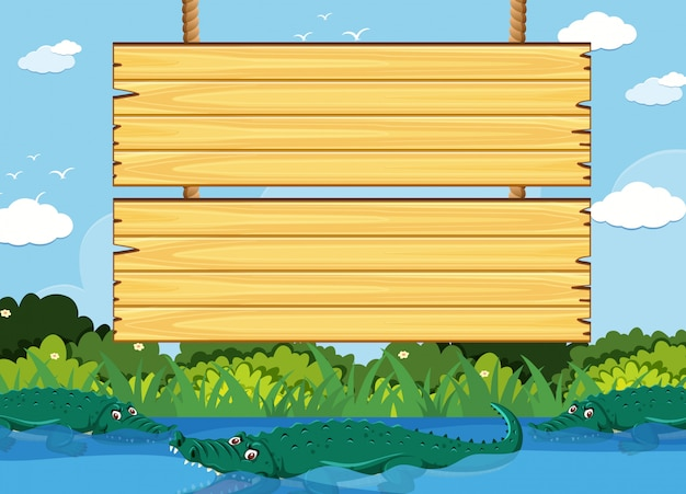 公園でワニと木製看板テンプレート