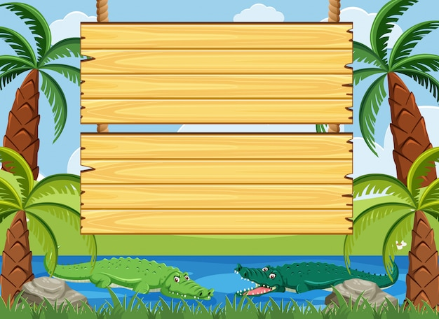 Wooden sign template with crocodile swimming in the river