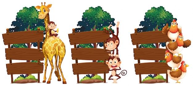 キリンと猿の木製のサインテンプレート