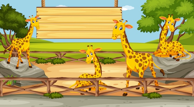 Wooden sign template with giraffes in the park