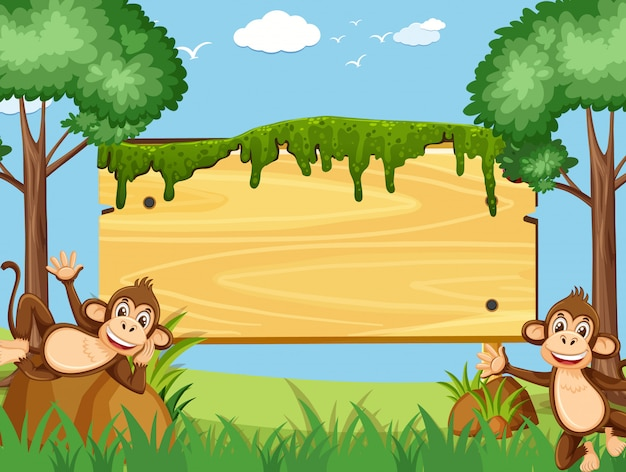 Wooden sign template with happy monkeys in the park