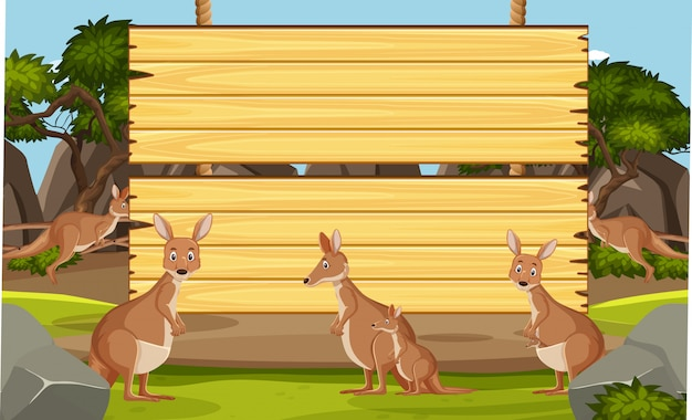 Wooden sign template with kangaroo in the park