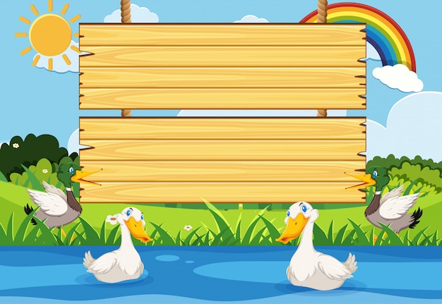 Wooden sign template with many ducks in the river