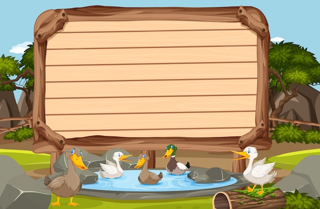Wooden sign template with many ducks swimming in the pond