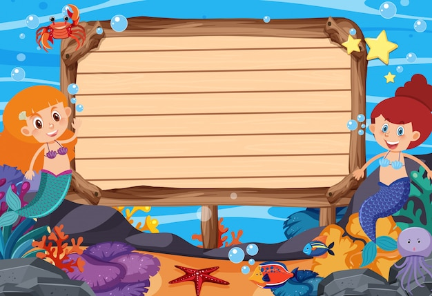 Wooden sign template with mermaids and fish under the ocean