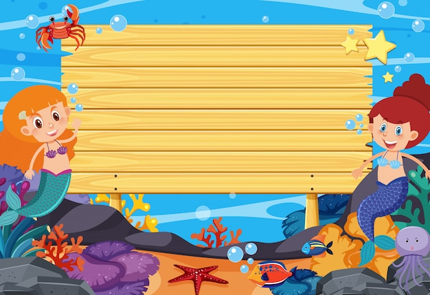 Wooden sign template with mermaids and fish under the sea