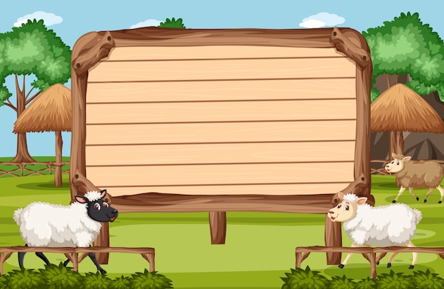 Wooden sign template with sheeps in the park