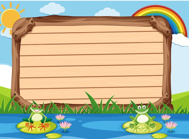 Wooden sign template with two frogs in the park