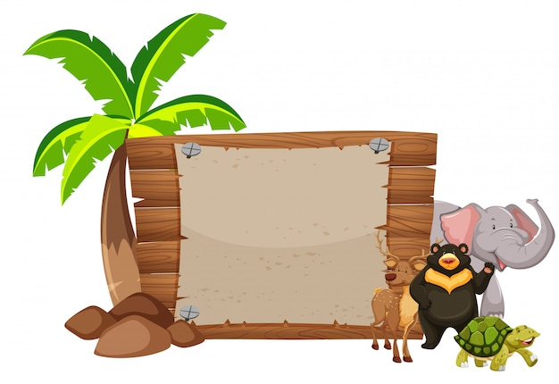 Wooden sign and wild animals
