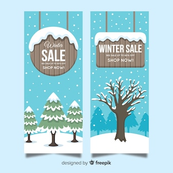 Wooden sign winter sale banner