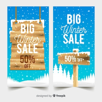 Wooden sign winter sales banner template