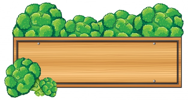 Wooden sign with broccoli on top