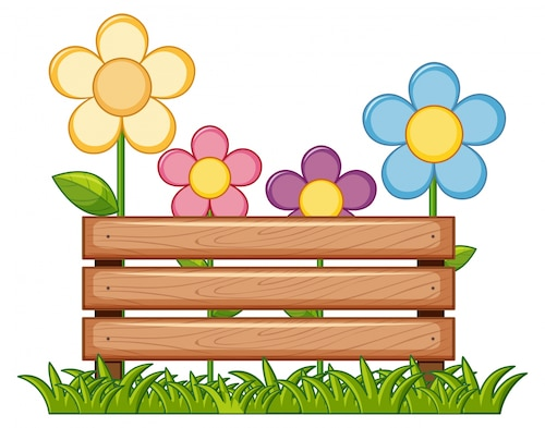 Wooden sign with flowers in garden