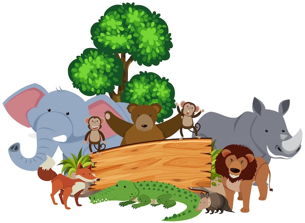 주위 많은 동물들과 함께 나무 기호