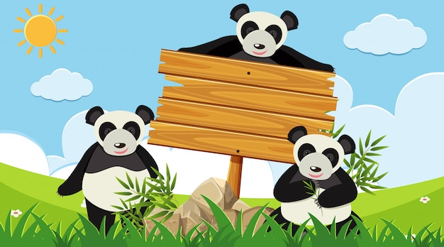 Wooden sign with three pandas in the park