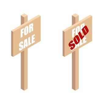 판매용 나무 간판 광고 및 등각 투영 보기에서 판매용 광고 속성이 있는 soldboard