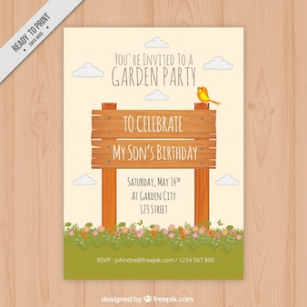 Wooden signboard garden party invitation