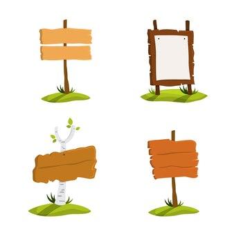 나무 간판 세트. 다양한 기호 모음