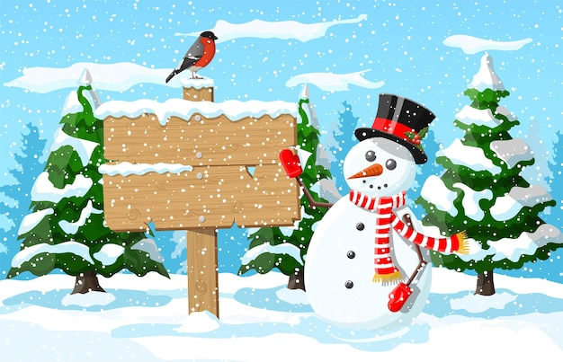 Wooden signboard snowman, winter landscape with pine forest bullfinch snowfall. winter landscape with fir trees forest and snowing. new year celebration xmas holiday.