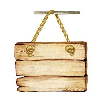 木製看板、空の空白が分離されました。ヴィンテージの古い、レトロな手描きの木製バナー、板、ボード。