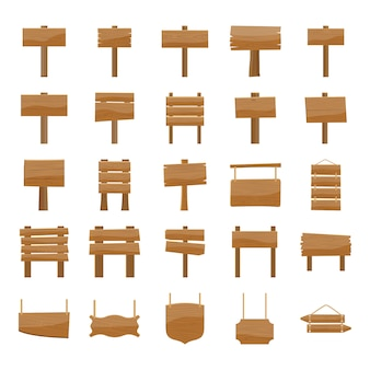 Wooden signboards icons pack