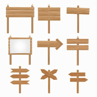 Wooden signboards, wood arrow sign set. directional plank in form arrow, billboard board