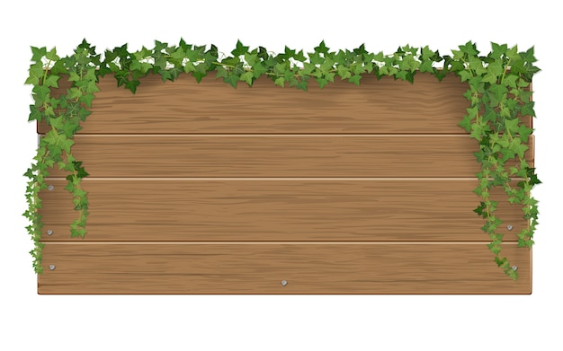 Деревянный указатель, обвитый палками плюща. шаблон с пустым пространством для текста.