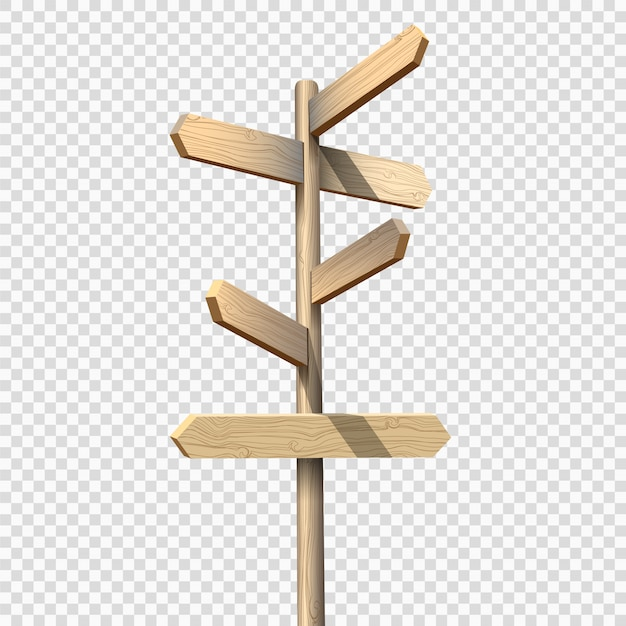 Wooden signpost on transparent