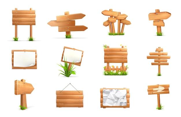 木製の看板。 3dベクトルセット