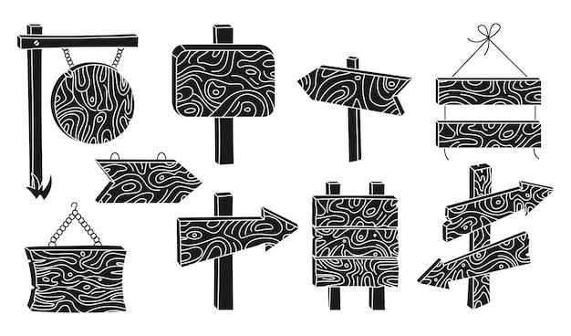 나무 표지판 광고판 검은색 글리프 세트 농촌 화살표 포인터 컬렉션 개요 빈 다양한 형태 판자 태블릿 빈티지 또는 오래된 복고풍 배너 손으로 그린 푯말 소박한 간판