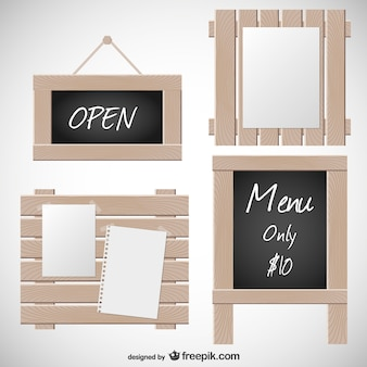 Wooden signs and blackboard