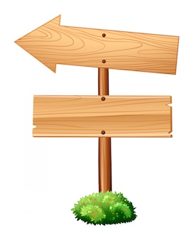 Wooden signs on pole