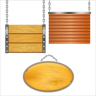 金属チェーンに掛かっている木製看板セット