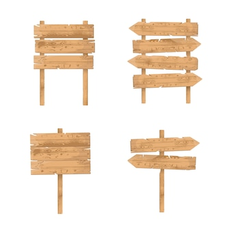 Wooden signs set. rough rustic boards and planks, signboards hanging
