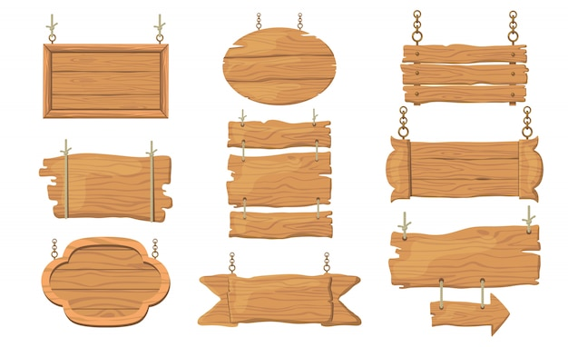 Wooden signs set Free Vector