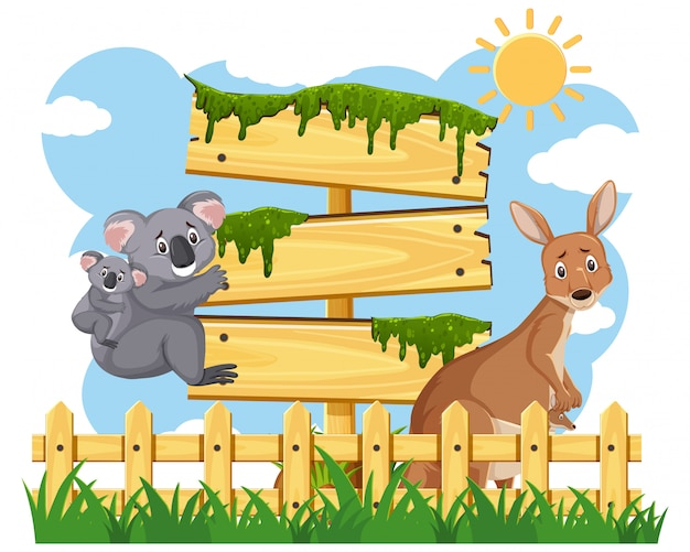 Wooden signs template with australian animals in the park