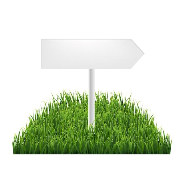 Деревянные знаки с зеленой травой с градиентной сеткой