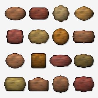 木製の看板。木の孤立した茶色のボード。看板用木の板、空の木製バナーイラストのセット