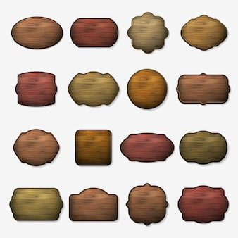 Wooden signs. wood isolated brown boards. wooden plank for signboard, set of empty wooden banner illustration