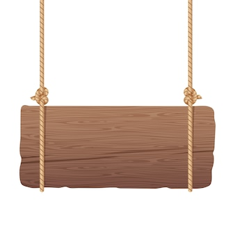 Wooden singboard hanging on ropes