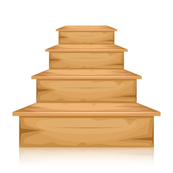 白い背景の上の木製の階段図