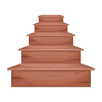Wooden stairs   illustration  on white background