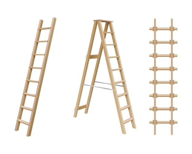 Wooden stairs, stepladder and rope ladder realistic set