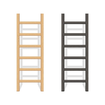 Wooden step ladder stand near white wall, illustration