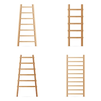 Wooden step ladder. vector set of various ladders. classic staircase isolated on white background. realistic